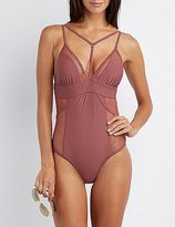 Charlotte Russe Caged Mesh One-Piece Swimsuit