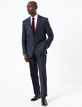 Marks and Spencer Navy Striped Tailored Fit Wool Jacket