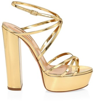 Aquazzura Gin Platform Metallic Leather Sandals