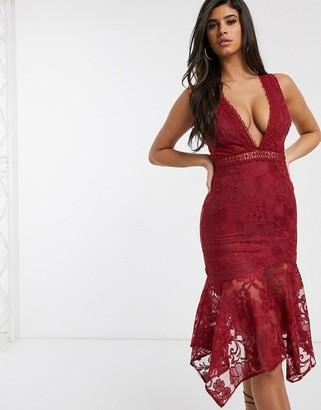 Love Triangle plunge front midaxi lace dress with fluted hem in deep raspberry