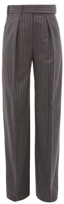 Alexandre Vauthier Pinstriped Wool Wide-leg Trousers - Womens - Grey Multi