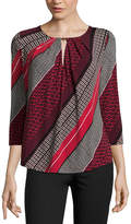Liz Claiborne 3/4 Sleeve Crew Neck Knit Blouse