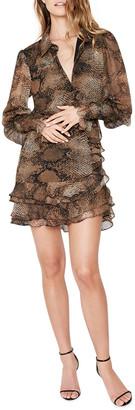 Bardot Bessie Snake-Print Tiered Mini Dress