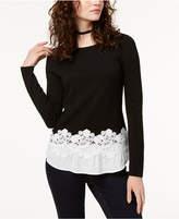 Alfani Inc International Concepts Petite Contrast Lace-Hem Top, Created for Macy's