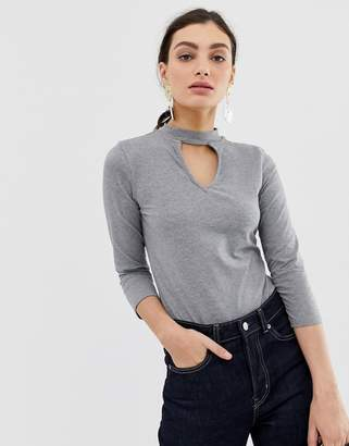 Benetton Body with 3/4 arm roll neck and keyhole cut out-Grey