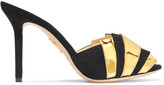 Charlotte Olympia Chrysie Metallic Patent-leather And Suede Mules - Black