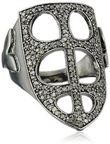 Azaara Sterling Silver Mitre Pave Champagne Diamond Ring (3/4cttw, I2-I3 Clarity), Size 7