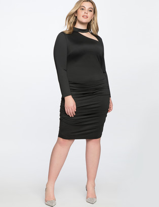 ELOQUII Cutout Mock Neck Dress