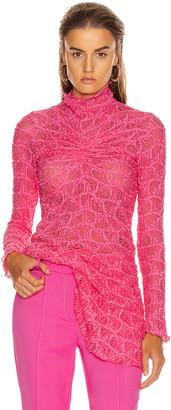 Sies Marjan Willie Ruched Long Sleeve Top in Fluo Pink   FWRD