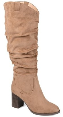 Brinley Co. Womens Extra Wide Calf Slouch Heeled Boot