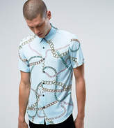 Reclaimed Vintage Inspired Shirt In Chain Print With Short Sleeves In Reg Fit