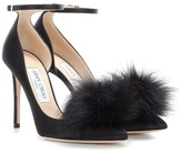 Jimmy Choo Rosa 100 satin pumps with clip-on fur pompoms