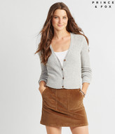 Prince & Fox Ribbed Button Front Cropped Cardigan
