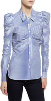 Veronica Beard Candice Striped Fitted Blouse, Blue/White