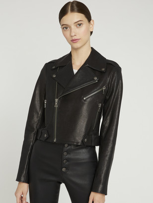 Alice + Olivia CODY CROPPED LEATHER JACKET