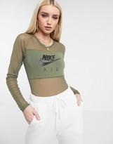 Nike khaki green mesh bodysuit