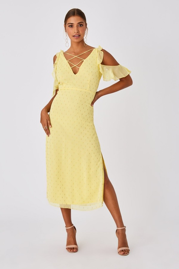 Little Mistress Tandi Lemon Zest Lurex Cold-Shoulder Midaxi Dress