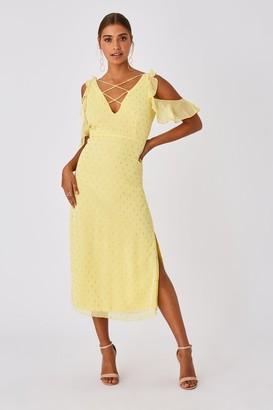 Little Mistress Tandi Lemon Zest Lurex Cold-Shoulder Midaxi Dress