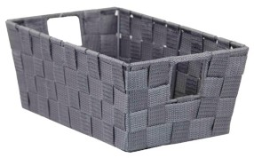 Home Basics Small Double Woven Polyester Strap Open Bin with Sturdy Steel Frame and Cut-out Handles