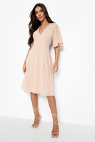 boohoo Sadia Angel Sleeve Midi Skater Dress blush