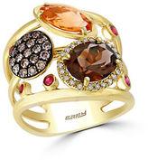Effy Mosaic Diamond, Semi-Precious, Multi-Stone and 14K Yellow Gold Ring