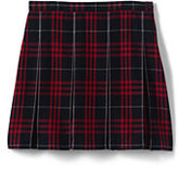 Classic Little Girls Plaid Box Pleat Skirt Top of the Knee Navy Large Plaid