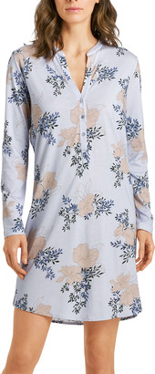 Hanro Floral Print Long-Sleeve Nightgown