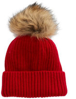 Linda Richards Rib Knit Tuque with Coyote Fur