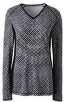 Classic Women's Petite Active Long Sleeve V-neck T-shirt-Silver Frost Geo