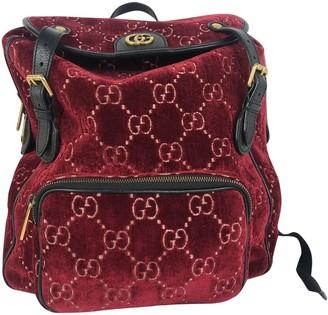 Gucci Burgundy Velvet Backpacks