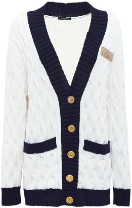 Balmain Wool Blend Cable Knit Long Cardigan