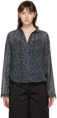 See by Chloe Navy Chiffon Floral Haze Blouse