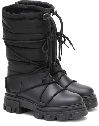 Ganni Leather-trimmed snow boots
