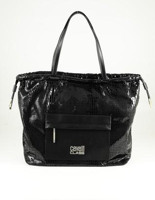 Class Roberto Cavalli Black Embosse Eco-Leather Tote Bag