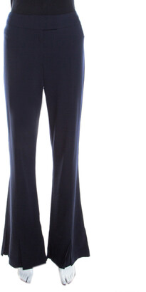 Escada Navy Blue Stretch Wool Crepe High Waist Peplum Hem Pants M