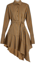 Palmer Harding PALMER/HARDING Asymmetric-hem striped cotton-blend dress