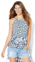 New York & Co. Open-Back Halter Blouse - Floral Print
