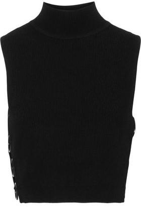 Cushnie Aria Cropped Ring-embellished Ribbed-knit Turtleneck Top