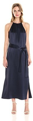 Halston Women's Sleeveless Racer Back Satin Slip Dress with Sash