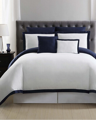 Truly Soft Everyday Hotel Border Navy 7Pc Duvet Set