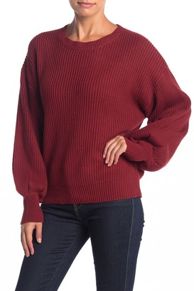 Lush Puff Sleeve Ribbed Sweater