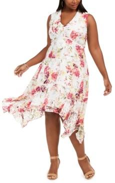 Taylor Plus Size Floral-Print Lace Dress