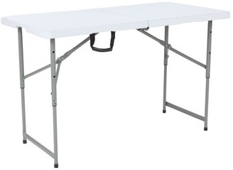 "Flash Furniture 24""W x 48""L Height Adjustable Bi-Fold Granite White Plastic Folding Table"