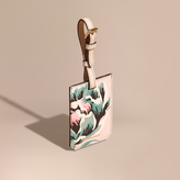 Burberry Peony Rose Print Grainy Leather Luggage Tag
