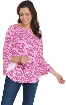 Belle By Kim Gravel TripleLuxe Knit Wave Print Bell Sleeve Top