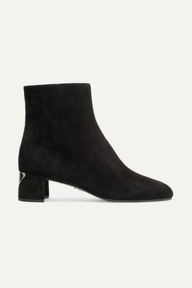 Prada 45 Logo-appliqued Suede Ankle Boots - Black