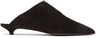 Acne Studios Brion Shearling-lined Suede Point-toe Mules - Womens - Black