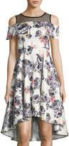 Neiman Marcus Cold-Shoulder High-Low Floral Dress