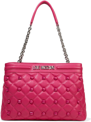 Love Moschino Studded Quilted Faux Leather Tote
