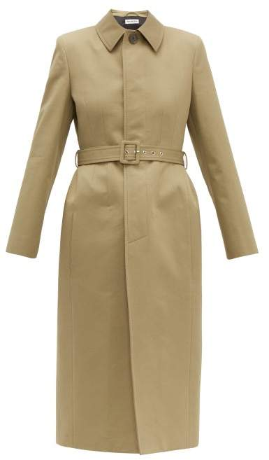 Balenciaga Hourglass Belted Cotton-gabardine Trench Coat - Womens - Light Beige